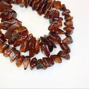 Vintage Jewelry - Vintage Raw Amber Nugget Chunky Necklace Estate